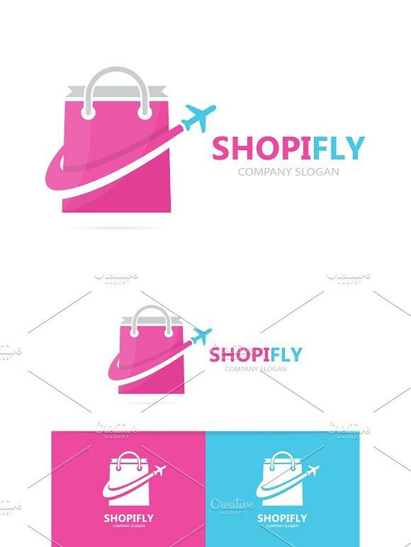 Vector Of Shop And Plane Logo Combination Sale And Travel Symbol Or
