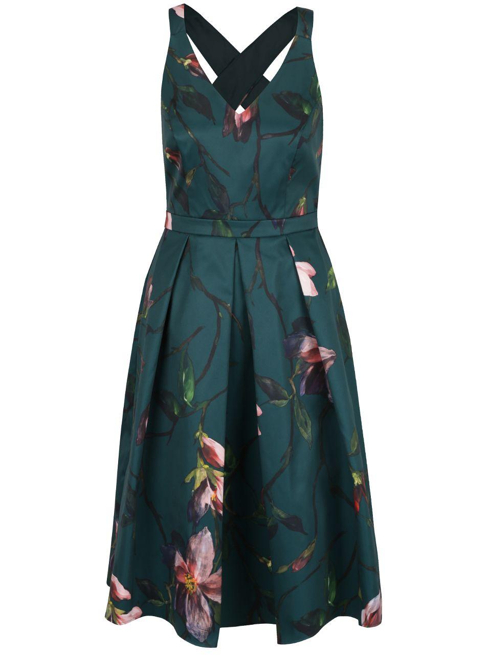 Tmavě zelené šaty bez rukávů s květy Dorothy Perkins  6c669b731b