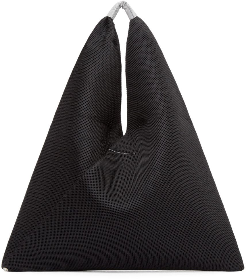 MM6 Maison Margiela Black Mesh & Neoprene Triangle Tote