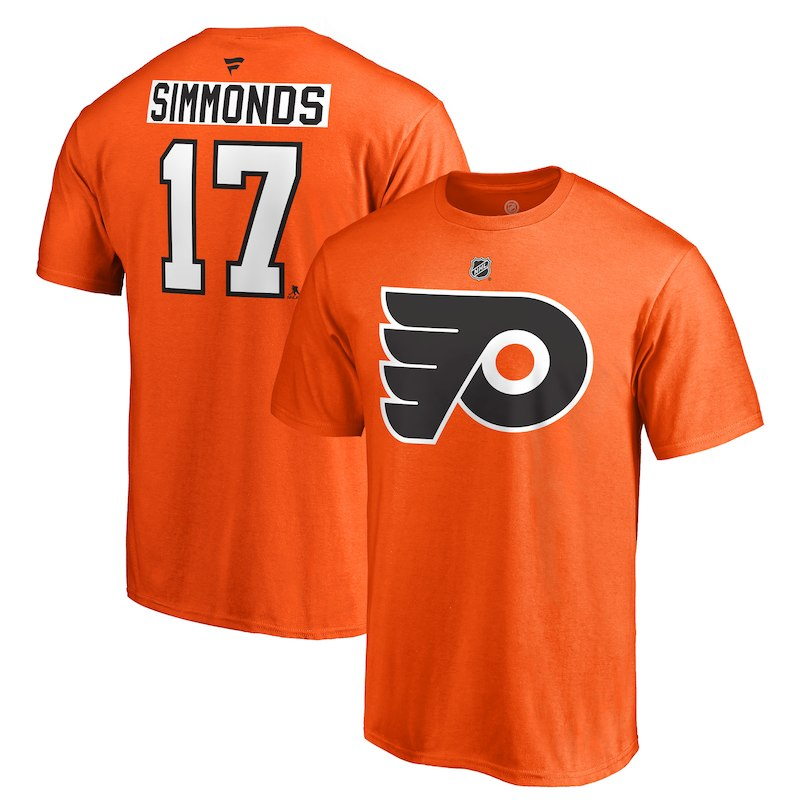 Wayne Simmonds Philadelphia Flyers Fanatics Branded Authentic Stack Logo  Name   Number T-Shirt – Orange 7ddbc4463