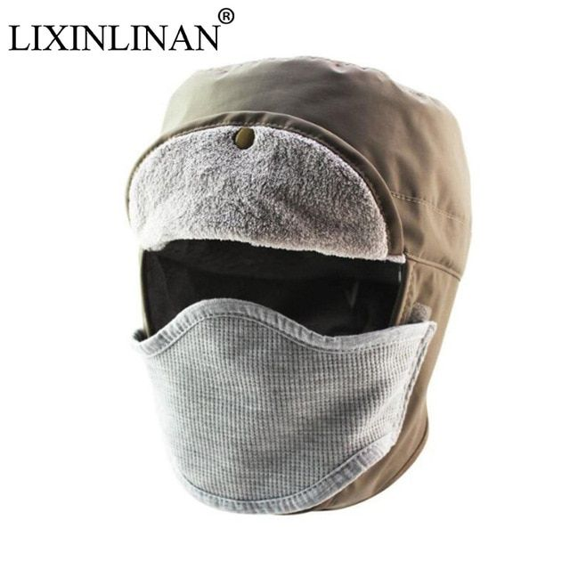 bfc7452d9c9 LIXINLINAN Outdoor detachable Hiking Climbing Hunting Cap Waterproof  Windproof Fleece Ski Winter Warm Mask Ear-