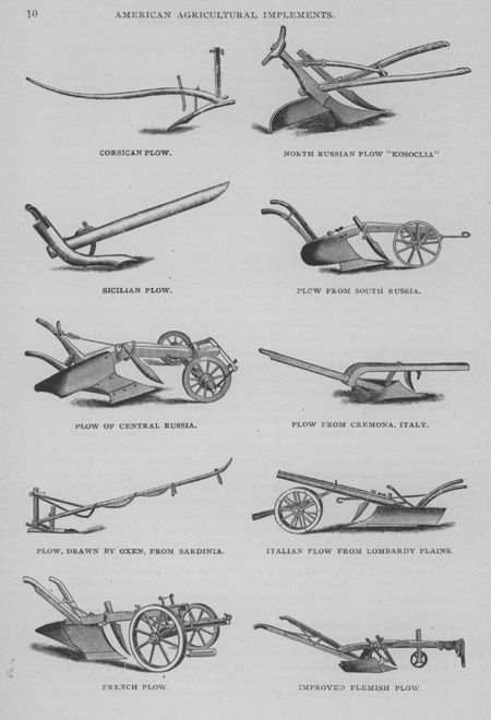 The plow is a symbol of labor and tillage of the soil with