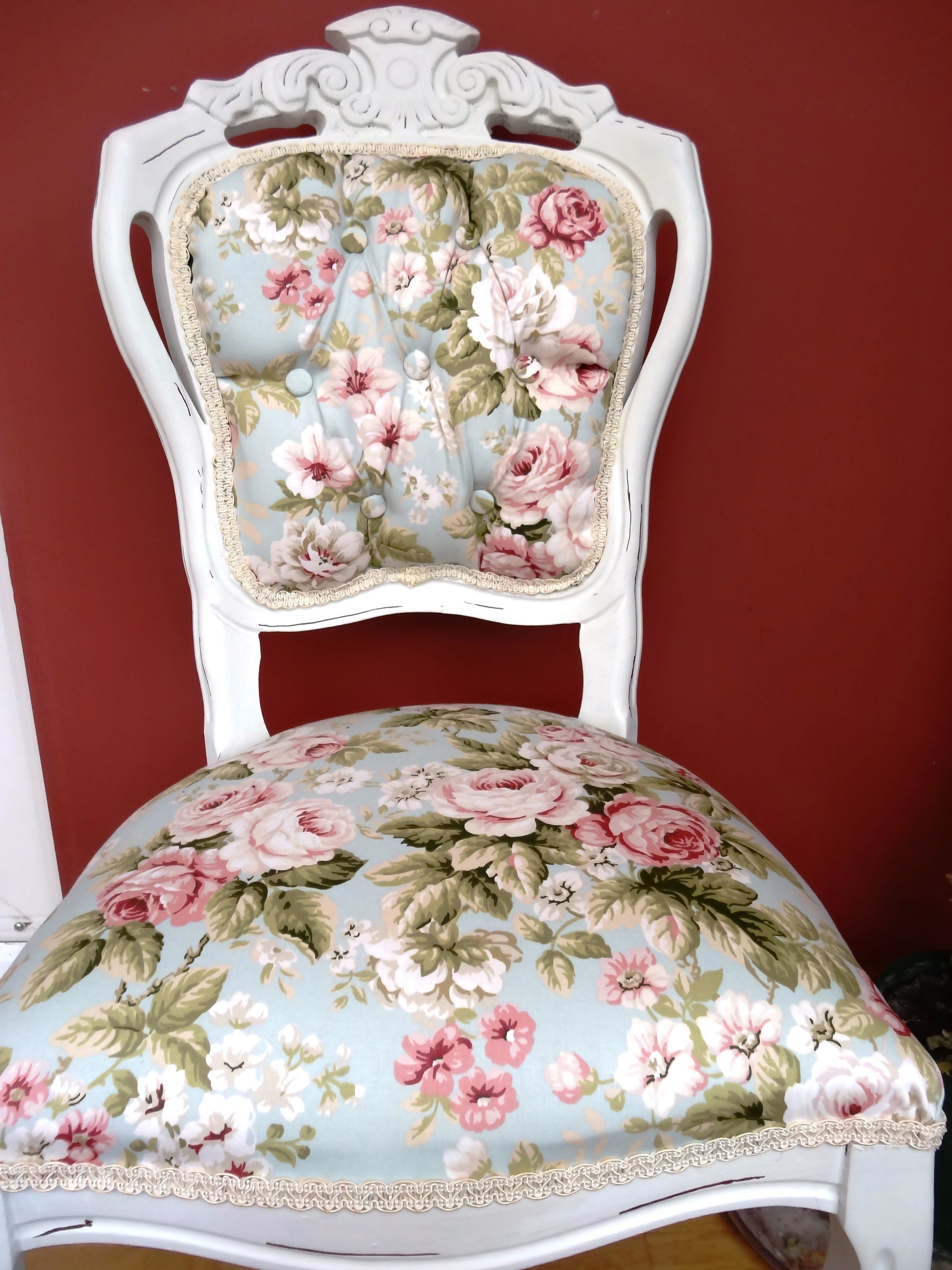 Shabby Chic Fl White Louis Chair Www Syseats Co Uk
