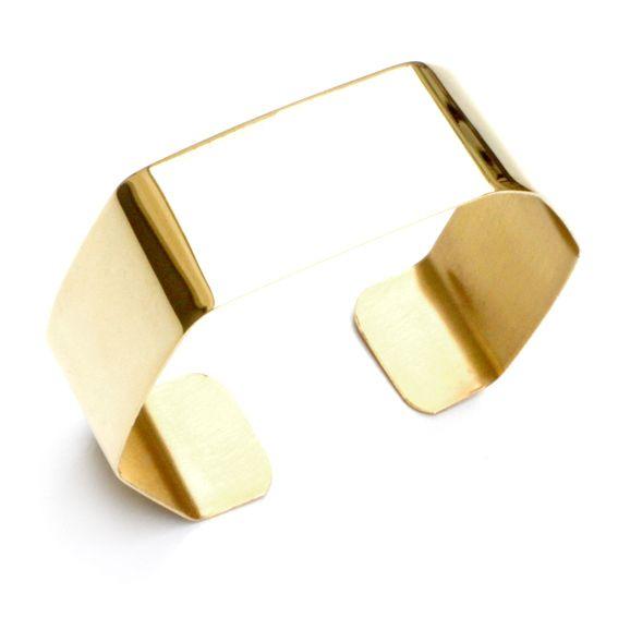 Petite manchette hexagonale (largeur 2 cm) Polie et dorée à l'or fin. Christelle dit Christensen
