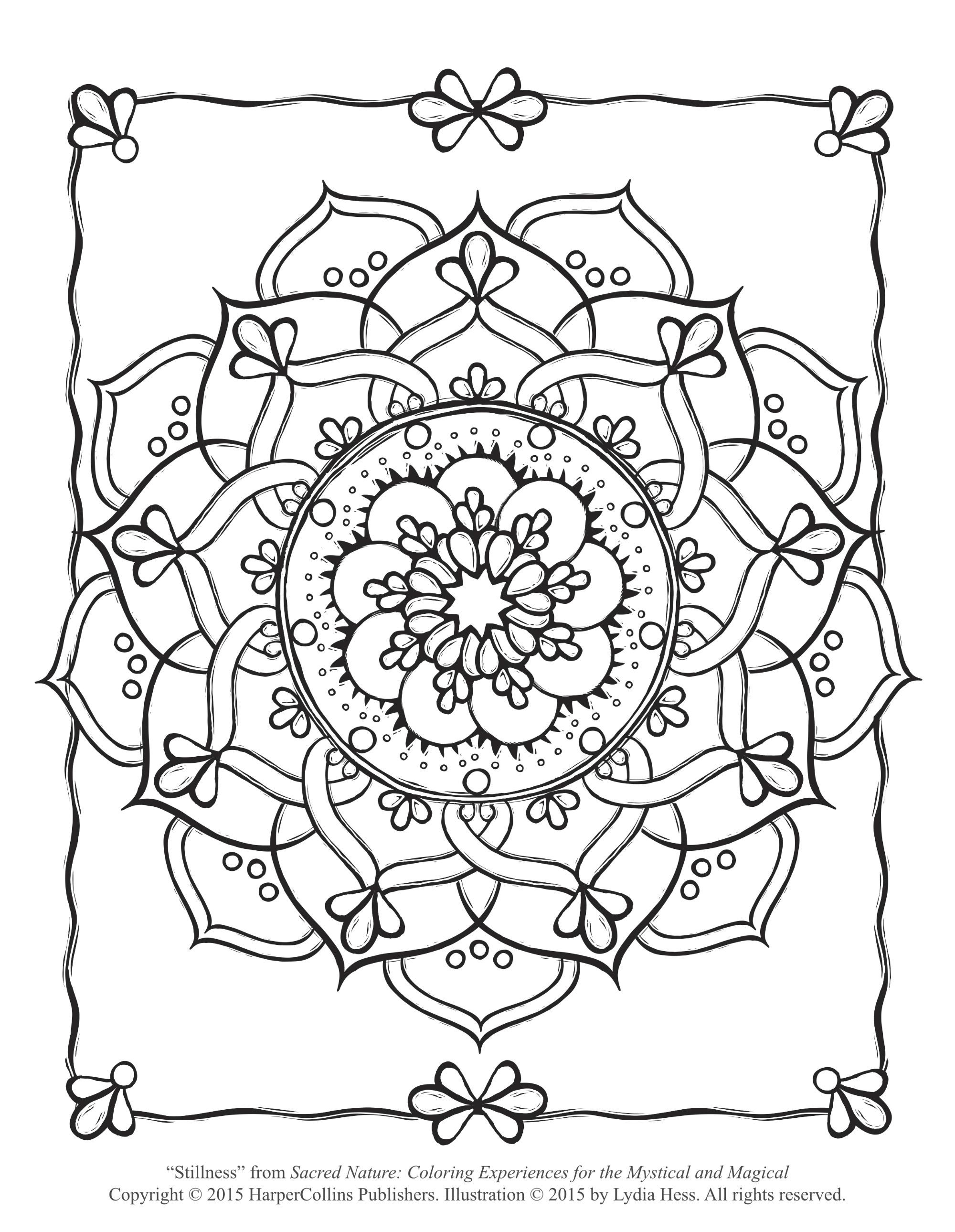 Sacred Flower Coloring Page (Free Adult Coloring Page