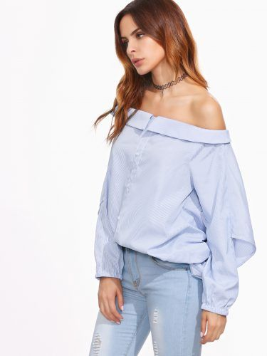 Blue Vertical Striped Button Front Multiway Blouse