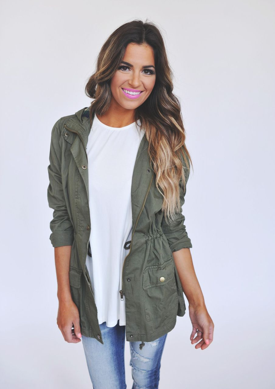 Olive/Plaid Hooded Jacket - Dottie Couture Boutique | Casual ...
