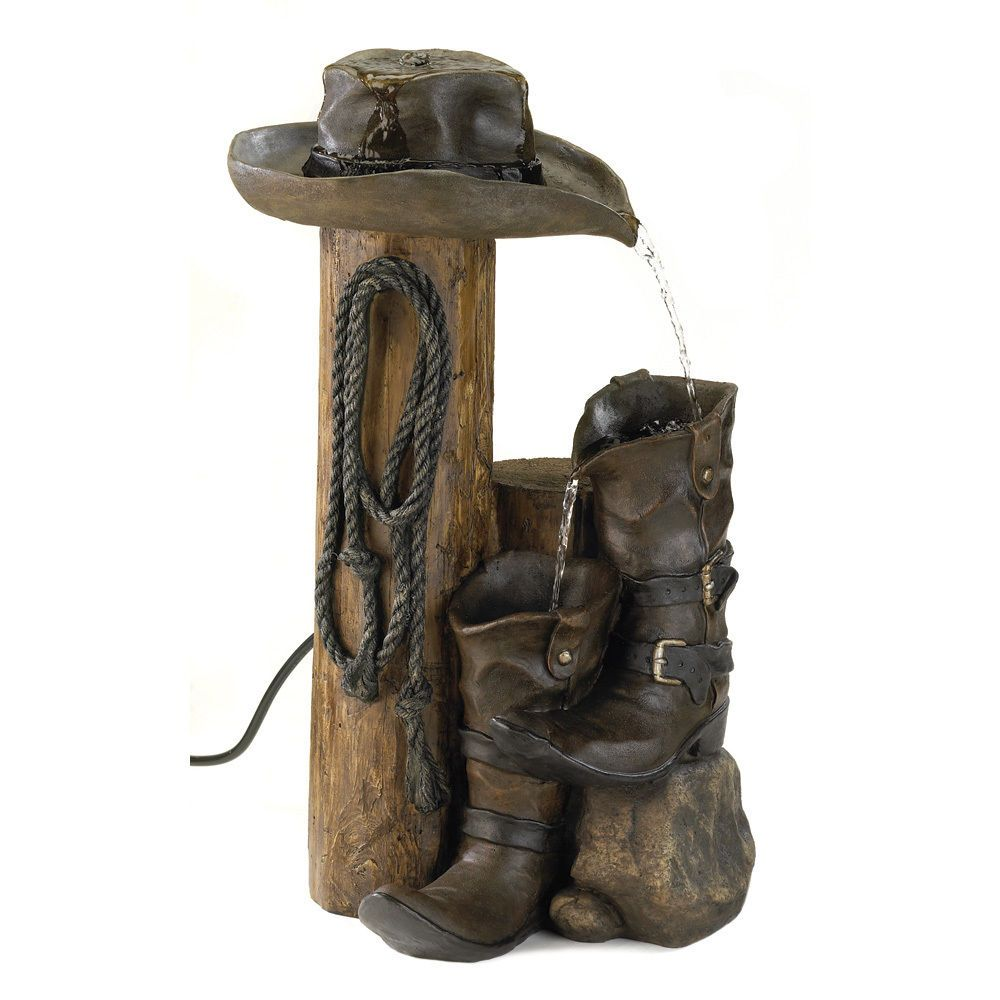 Water Fountain Fall Wild Western Outdoor Yard Cowboy Hat Country Boots  Garden #HomeLocomotion Http: