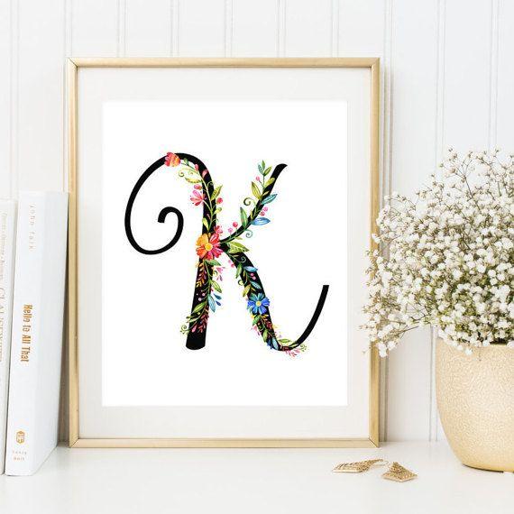 Initial Wall Art nursery monogram k letter initial wall art letter k floral print
