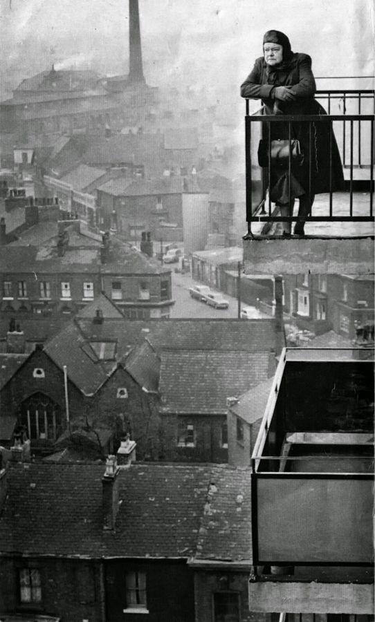 Actress Violet Carson looking out over the industrial landscape of ...