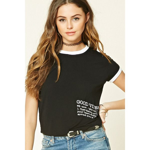 Forever 21 Women's  Good Vibes Ringer Tee (495 DOP) ❤ liked on Polyvore featuring tops, t-shirts, forever 21 tops, forever 21 t shirts, forever 21 tee and forever 21