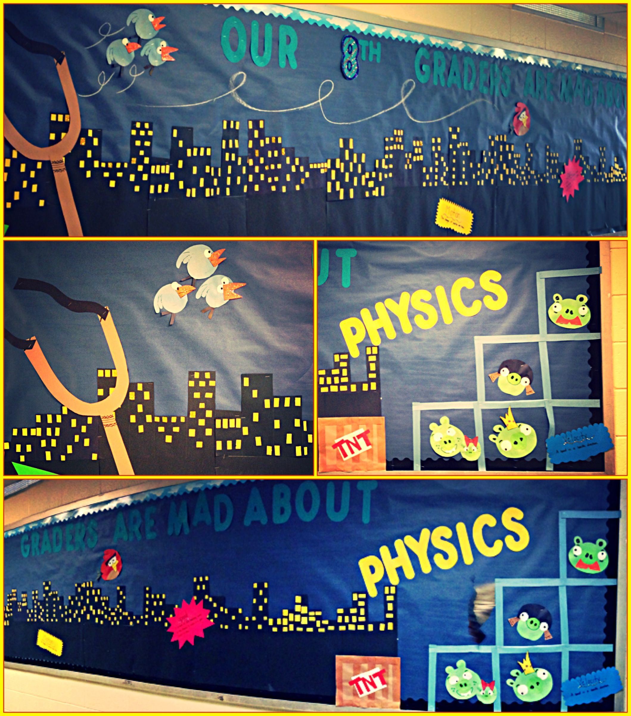 Physical Science Classroom Decorations ~ Angry birds bulletin board for forces and motion science