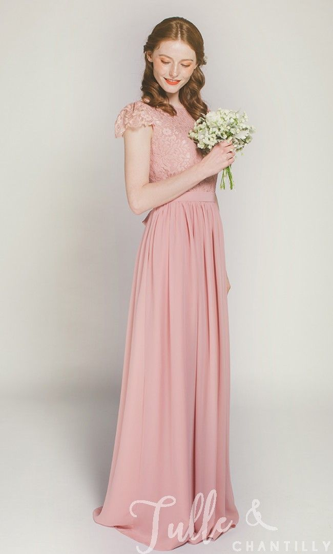 52d2301c8b66 Cap Sleeves Long Lace and Chiffon Bridesmaid Dress TBQP322D click for 40+  colors