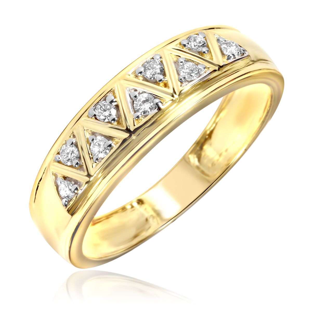 12 carat diamond trio wedding ring set 10k yellow gold - Gold Wedding Rings For Men