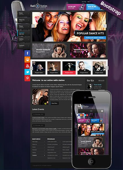 radio station website template  amazing boostrap responsive web design for radio station