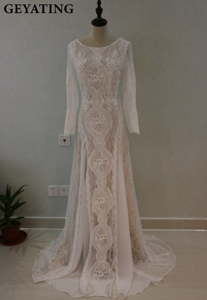 Vintage lace long sleeves boho beach wedding dress mermaid open back