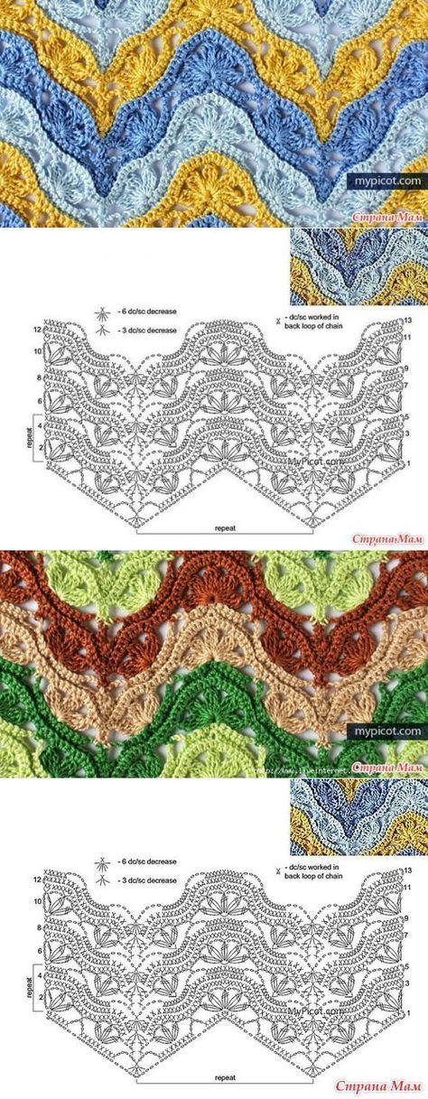 коллекция узоров крючком | Crochet, Crochet stitches and Stitch