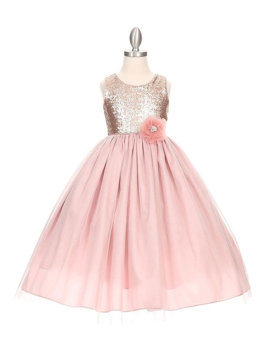 Matte Sequin Long Dress with Full Tulle Skirt   Products   Pinterest ...