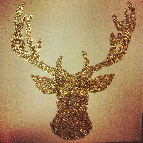 Glitter Deer Head Canvas