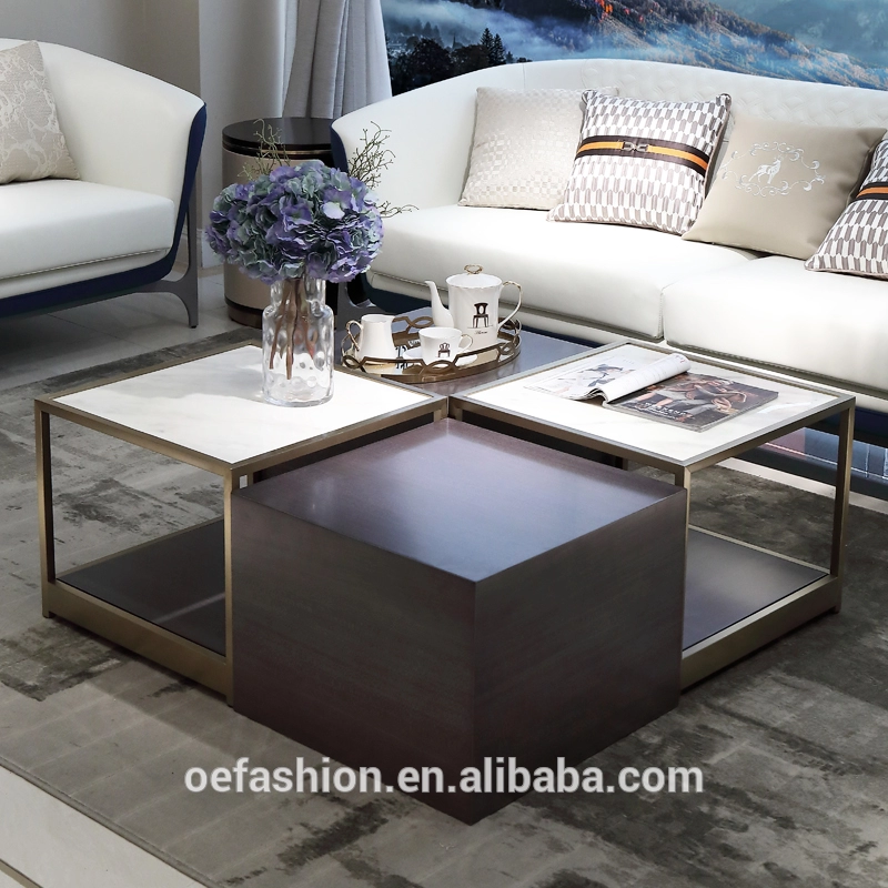 Oe Fashion Custom Square Modern Stainless Steel Frame Marble Top Coffee Table For Living Room Furniture View Living Room Furniture Living Room Table Furniture