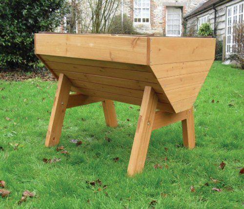 veg trough medium wooden raised vegetable bed planter