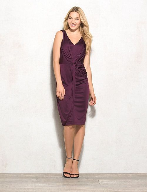 Womens 6 10 LOVELY By ADRIANNA PAPELL PURPLE DRAPED DRESS slinky small m