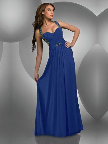 blue formal dresses | Column Dark Blue Strap Crossing Back Long ...