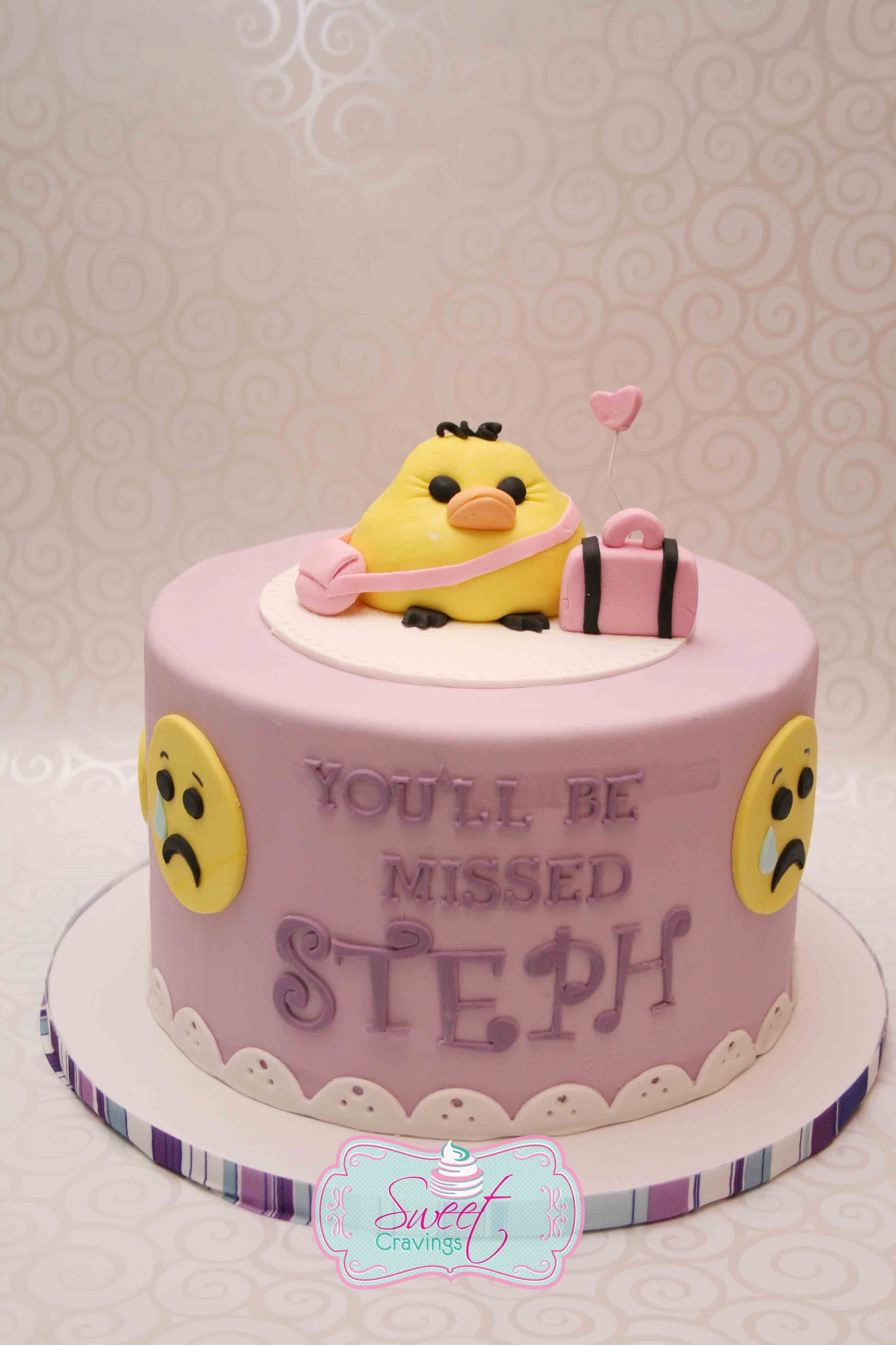 Awesome Going Away Cake With Emoticons Facebook Com Personalised Birthday Cards Epsylily Jamesorg
