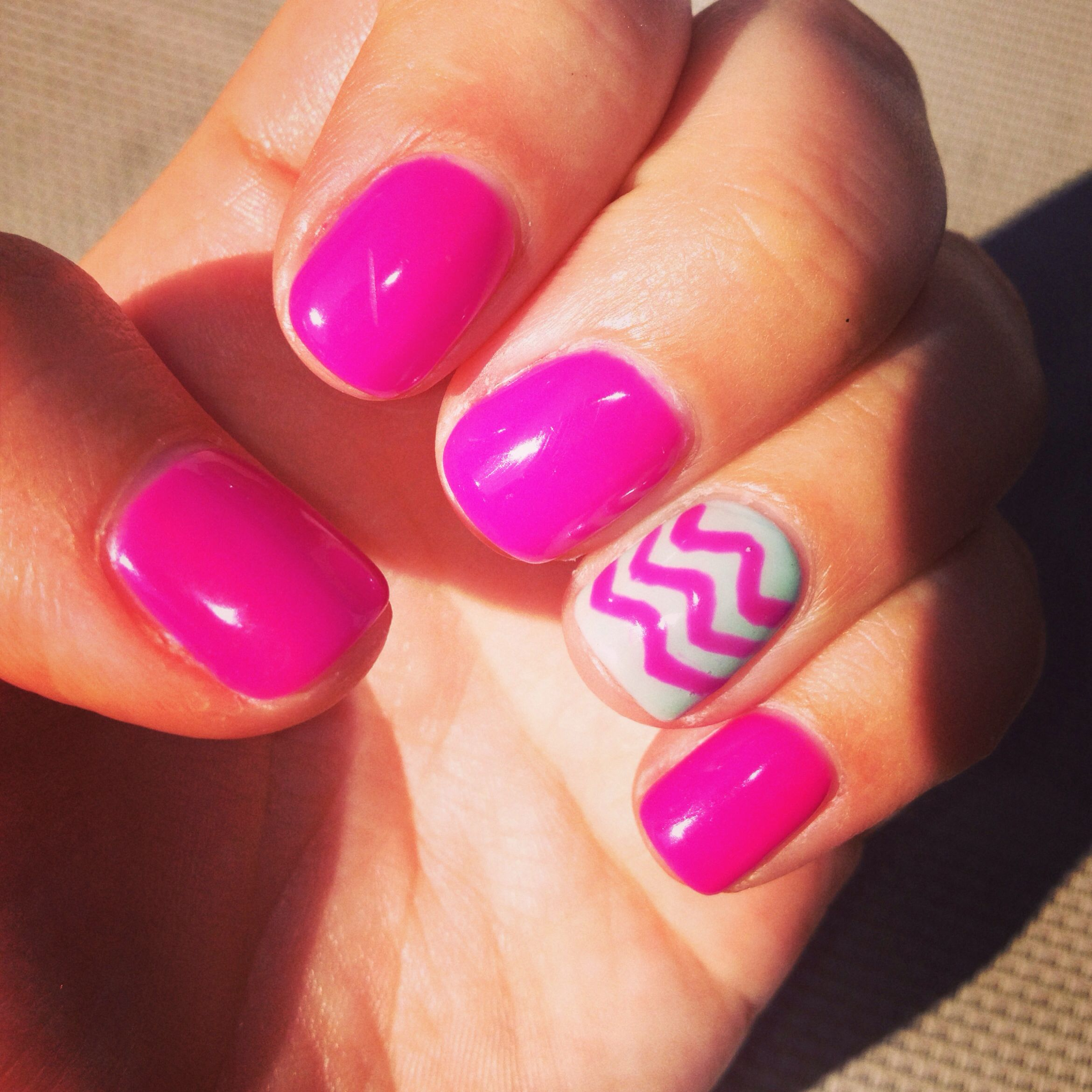 Pink And Green Chevron Summer Gel Nails