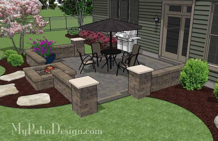 Our Diy Square Brick Patio Design With Fire Pit Is