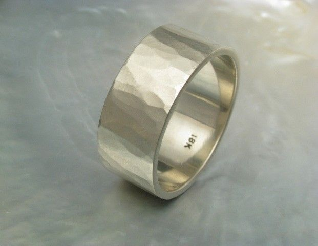10mm Wide Wedding Band Hammered In 18k White Gold Rustic Hand Forged Wedding Ring Anneau
