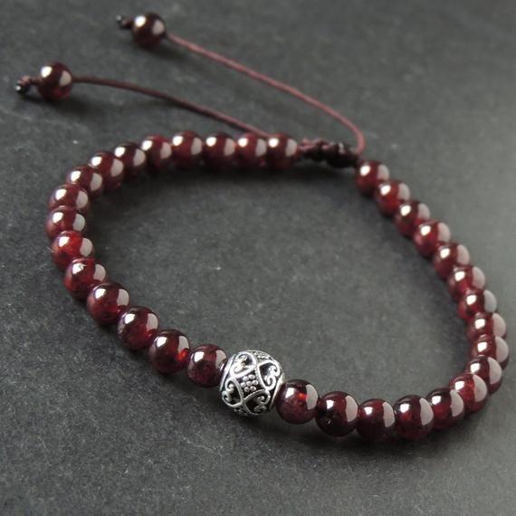 Men's Women Garnet Adjustable Braided Bracelet 925 Sterling Silver Celtic Bead DiyNotion BR1018 #gemstonejewelry