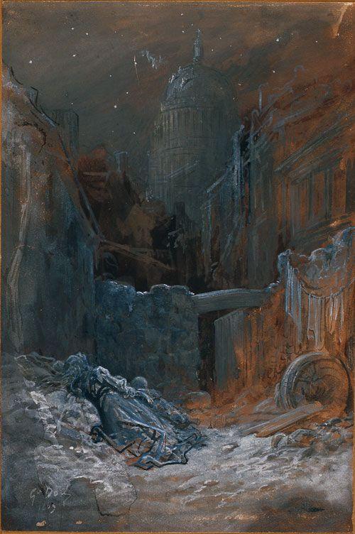 Gustave Doré. Pauvresse à Londres, 1869. Lavis, plume et rehauts de gouache blanche, 46,3 x 30,6 cm. Strasbourg, Musée d'Art Moderne et Contemporain de Strasbourg. © Photo musées de Strasbourg.