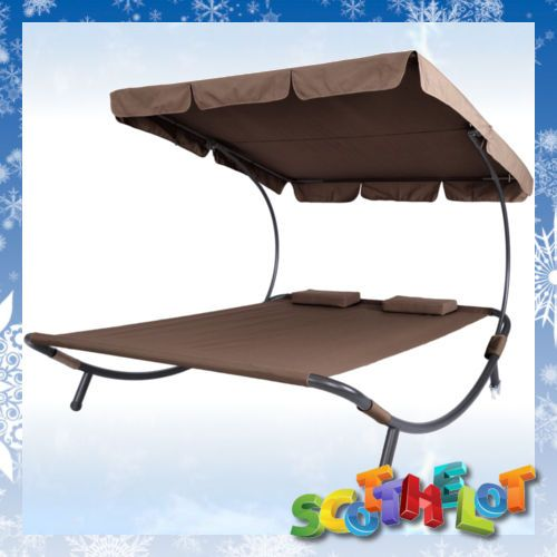 outdoor garden patio double sun lounger twin day bed roof shade furniture brown