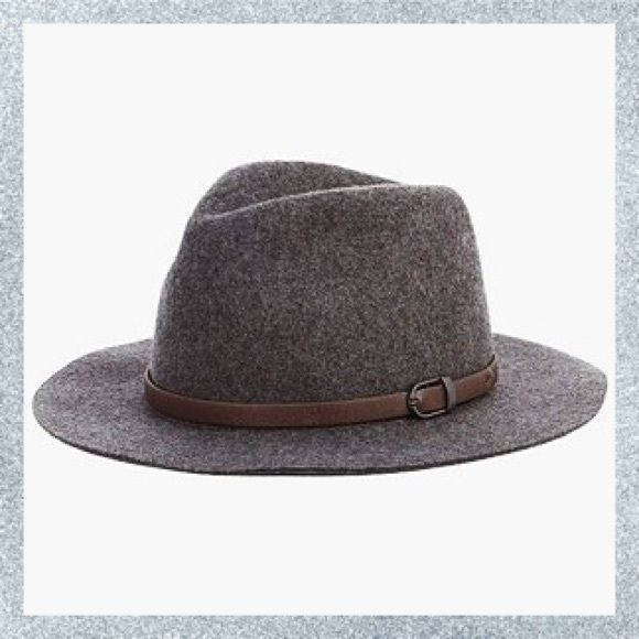 """belted wide brim hat  Sold out everywhere. Excellent quality wool hat, by San Diego Hat Company, charcoal. 3"""" brim + brown leather belted detail. Would be super cute as part of a ~rocker look~ or a quick way to add some personality to any outfit. Perfect for festival season! Worn once. Urban Outfitters Accessories Hats"""