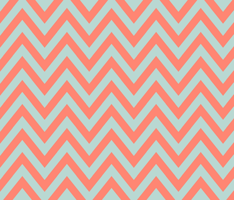 Mint Coral Chevron By Mgterry