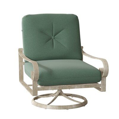 Woodard Belden Swivel Patio Chair with Cushions Cushion Color: Poet Birch, Frame Color: Weathered White