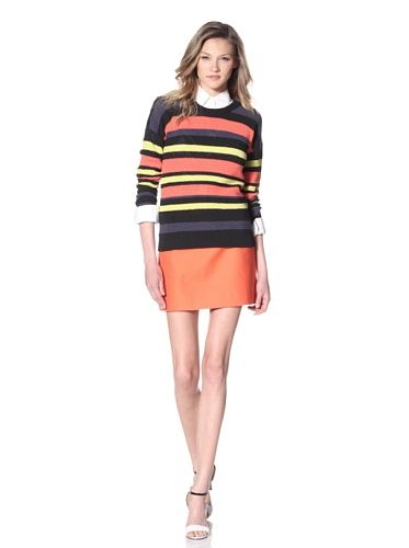 Jason Wu Women's Striped Crochet Sweater (Black/Coral)