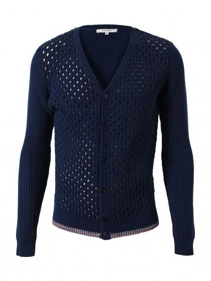 Ribbed Perforated Cotton Cardigan