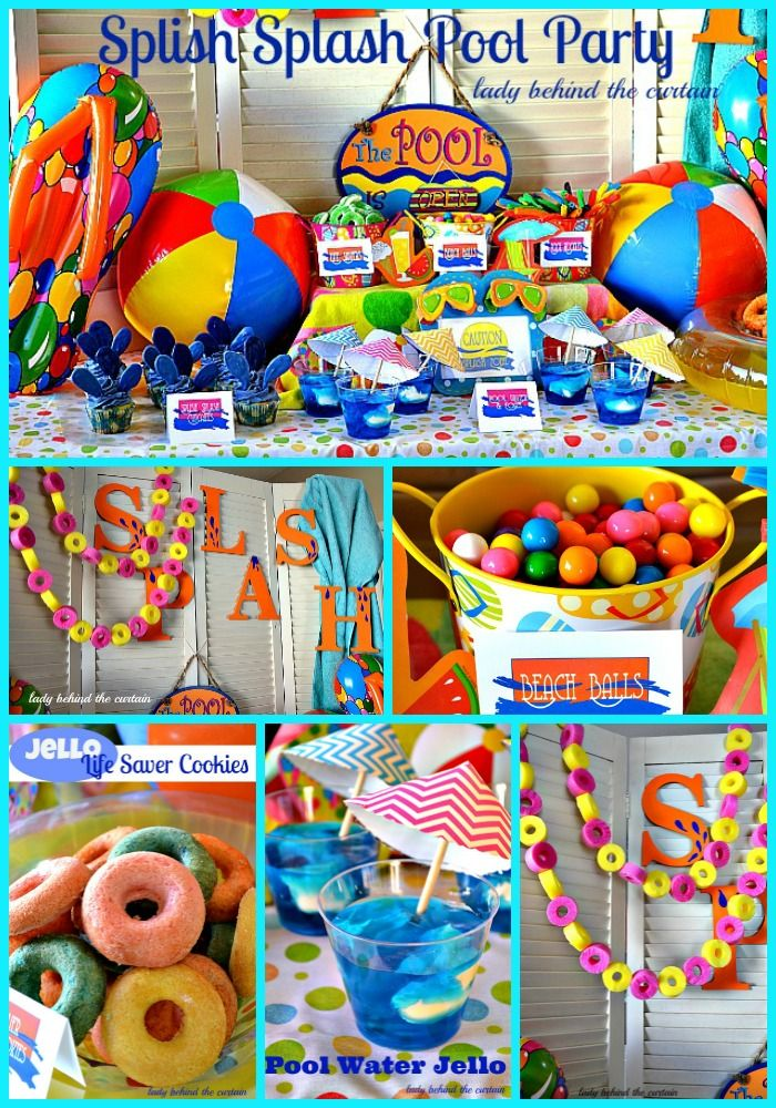 Pool Party Ideas Kids pool party noodle race Kickboard Brownie Pops