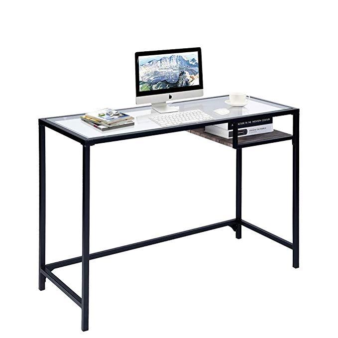 Amazon Com Aingoo Glass Computer Desk Study Writing Table Metal
