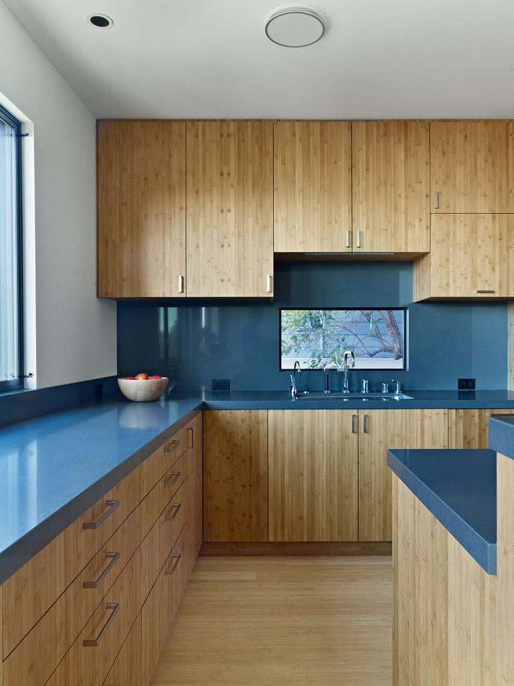 Beautiful Kitchen Cabinet Ideas For Colorful Kitchen: Naturally Modern  Kitchen Cabinet Ideas With Wooden Material And Blue Countertop Decora.