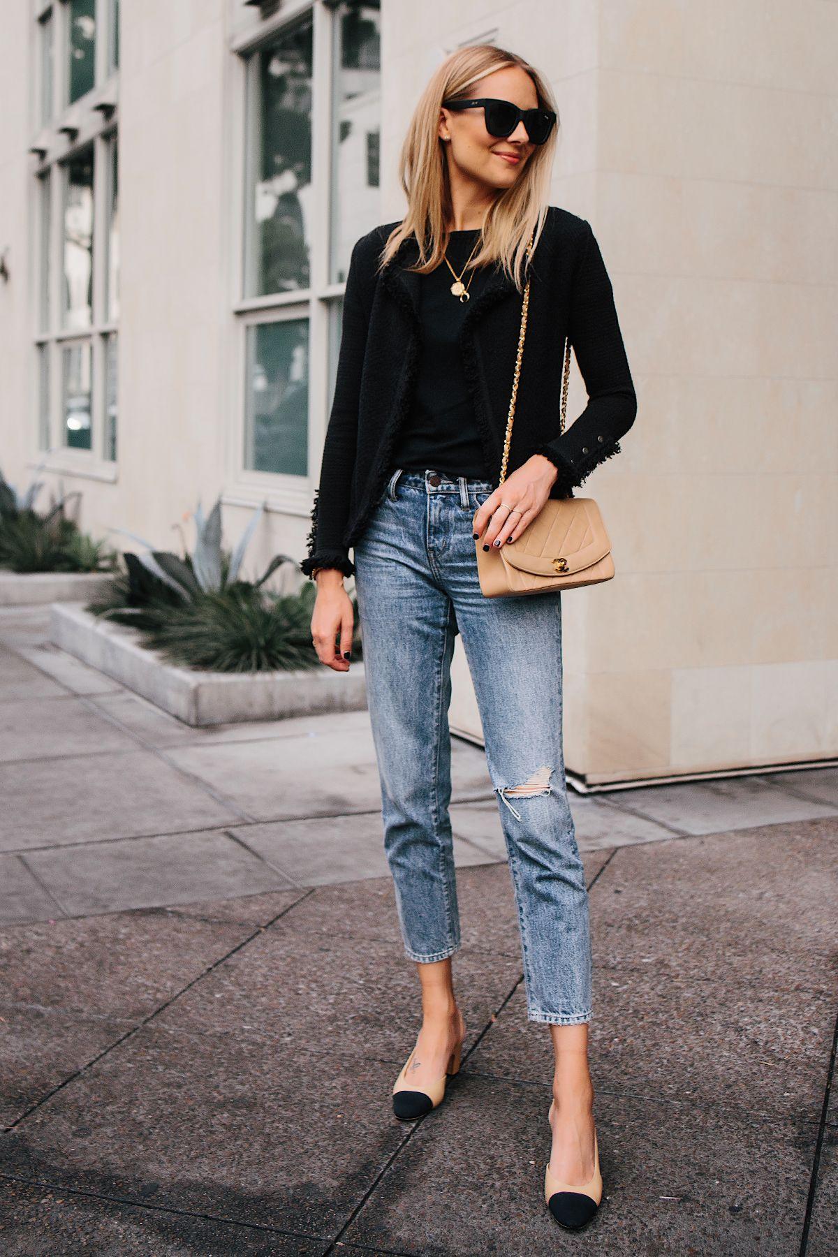 9f73b004175 Fashion Jackson Black Tweed Relaxed Jacket Jeans Outfit Chanel Tan Diana  Handbag Chanel Slingback Shoes