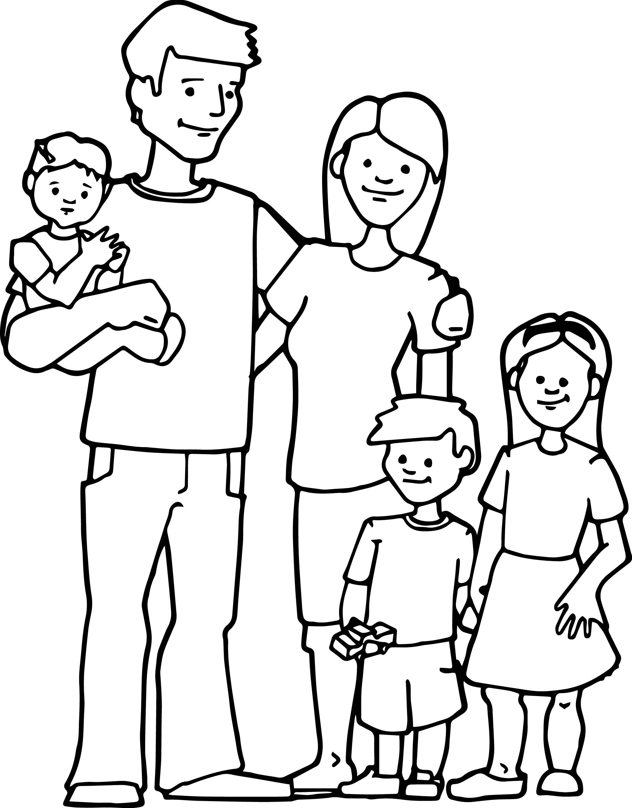 Awesome Family Kids Coloring Page