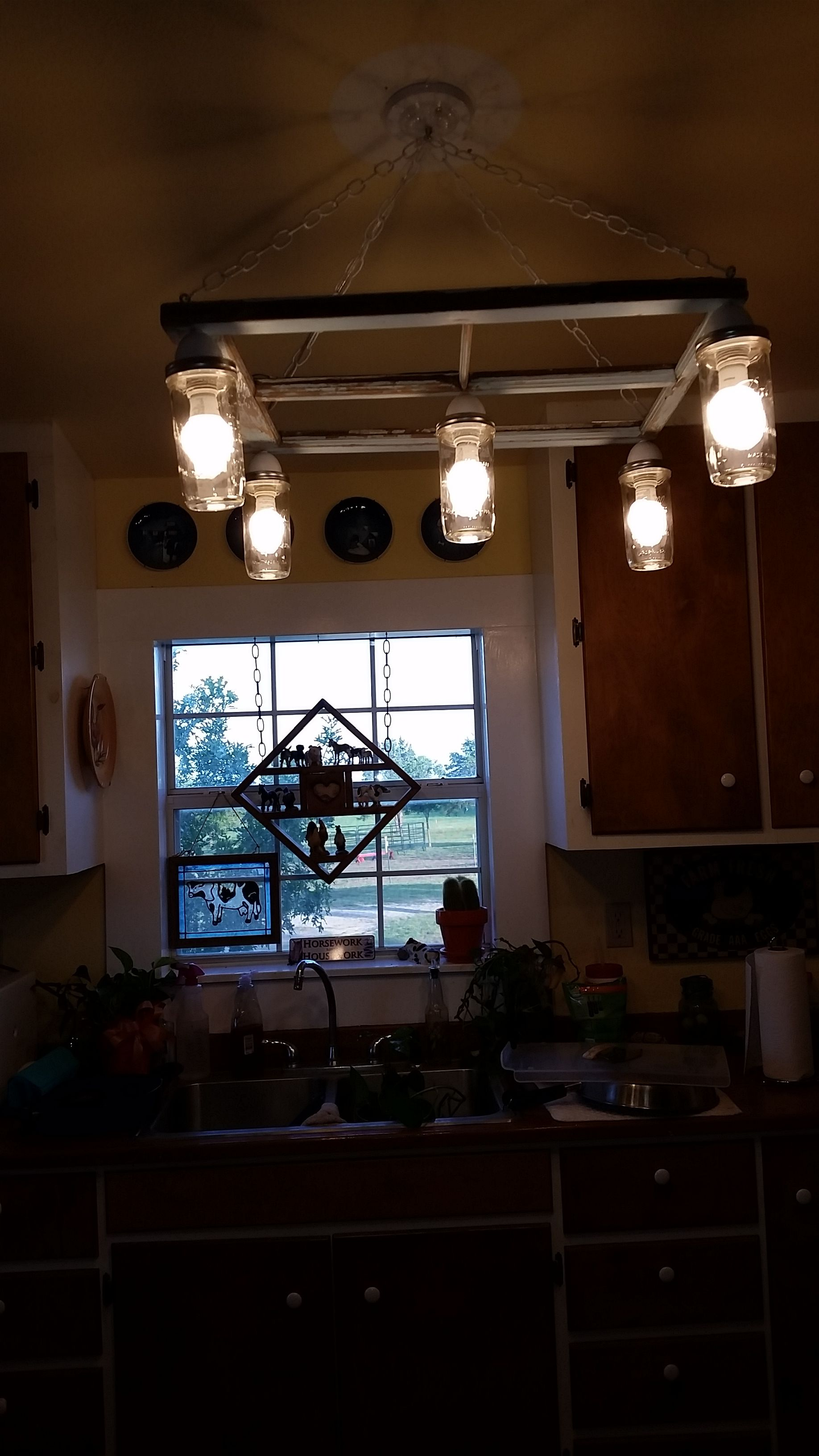 Kitchen chandelier from old window frame and mason jars farmhouse kitchen chandelier from old window frame and mason jars arubaitofo Images
