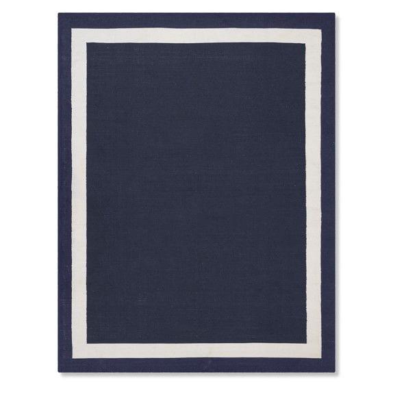 Solid Border Indoor/Outdoor Rug, 8x10\', Navy | Indoor outdoor rugs ...
