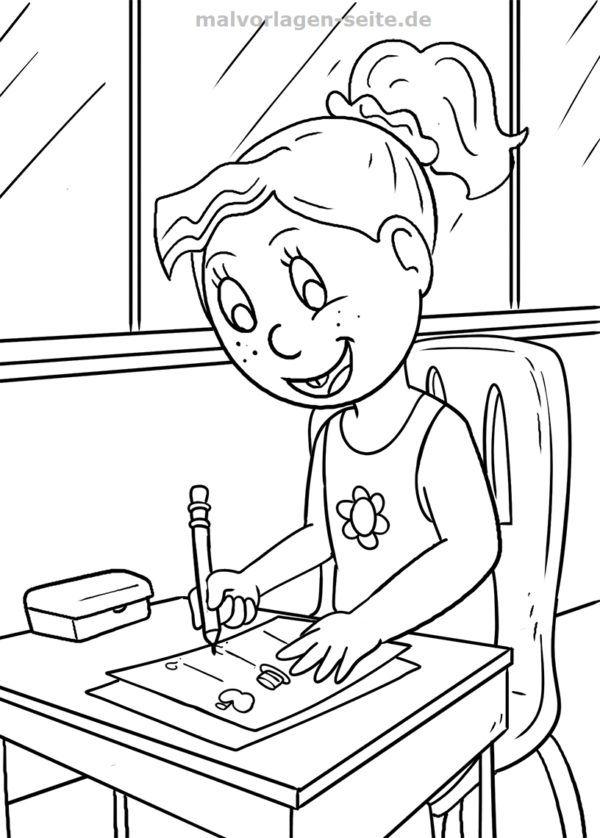 Malvorlage Schule Schulerin Malvorlagen Vorlagen Ausmalbilder