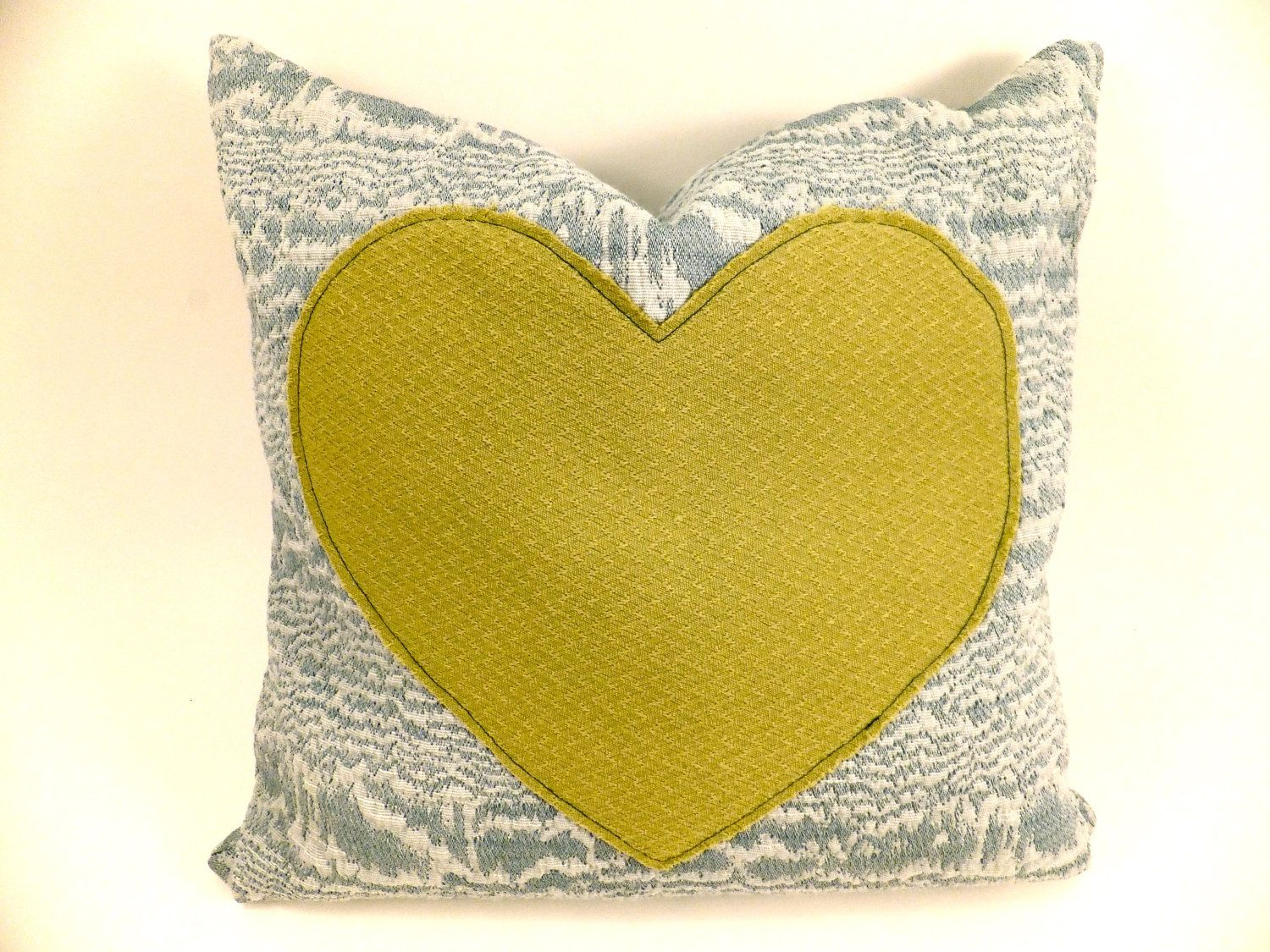 Heart appliqued pillow cover case uu vintage fabric and