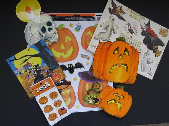 Lot of 7 Halloween Decorations - Pumpkin Skeleton Cut Outs Pumpkin - halloween window clings