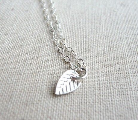 Tiny leaf - dainty silver necklace on sterling chain - simple jewelry - edor. $20.00, via Etsy.